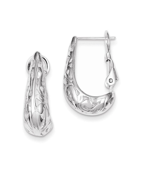 Sterling Silver Filigree J Hoop Earrings - CS11BTR16MV