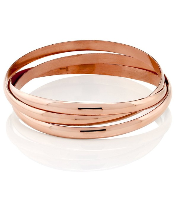 "2.75"" Triple Rose Loop Stainless Steel High Shine Bangle Bracelets Set - CL11M3H7PY9"