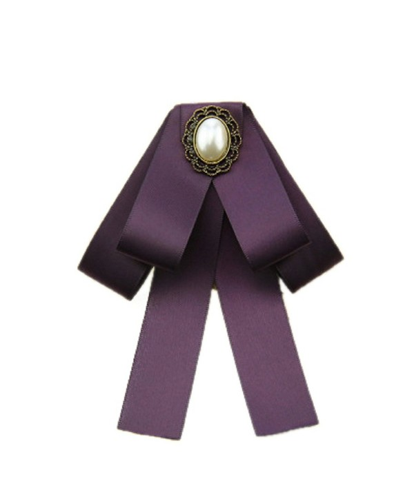 Top Cheer Women Crystal Boutonniere Flower Long Bow Tie Jabot Neck Cravat Brooch Pin - Purple - C91800KYXNQ
