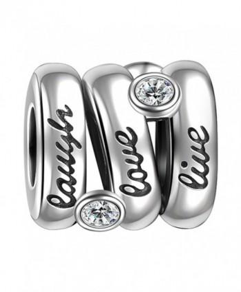 SOUFEEL Swarovski 925 Sterling Silver Live Laugh Love Charm for European Bracelets Necklace - CU128760QQD