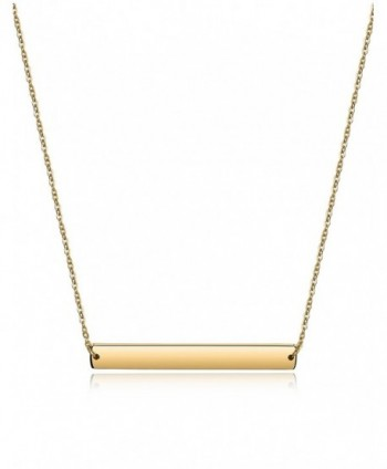 Bar Necklace Stainless Steel Gold Plated Adjustable with Engravable Bar Pendant(16Inch+2) - Yellow - CZ12O3O8UPH