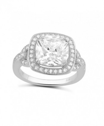 Sterling Silver Square Cz Big Halo Statement Ring (Size 4 - 9) - CM12CNA1SVF