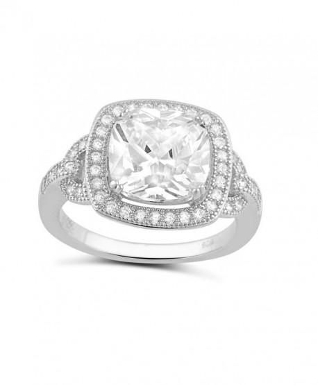Sterling Silver Square Cz Big Halo Statement Ring (Size 4 - 9) - CM12CNA1SVF