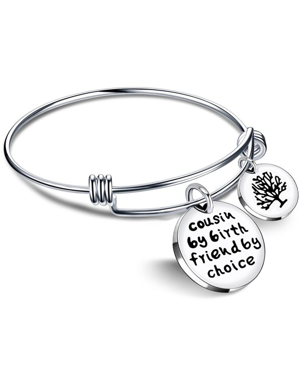 Cousin BBF Bangle Bracelets Best Friend Tree of life Pendant Gift - Cousin by birth friends by choice - CD186272WAX