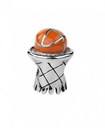 Jovana Sterling Silver Basketball & Hoop Bead Charm with Enamel- Fits pandora Bracelet - C5116ENXPND