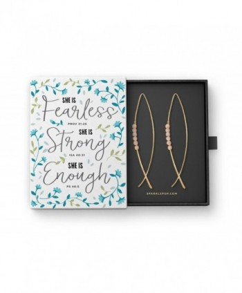 "Christian Fish Earrings in ""Fearless- Strong"" Bible Verse Gift Box- 2.75 Inches - C2185GEL44L"