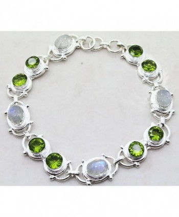 Designer Sterling Silver Overlay Clasp Bracelet with Genuine Peridot and Rainbow Moonstone Gemstones - CB128RFXPA7