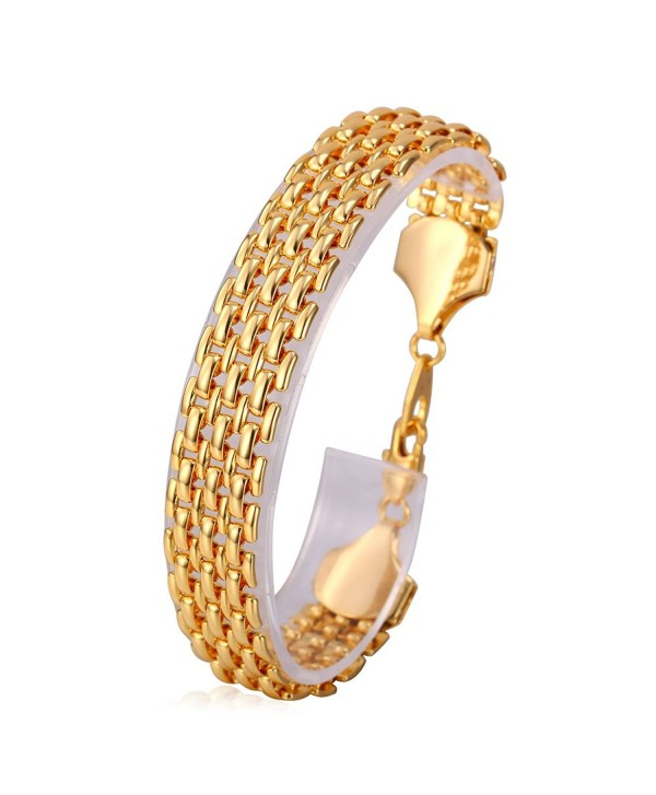 U7 Unisex Link Bracelet 10MM Wide Gold Plated Wrist Chain Bracelets 20CM Long - CR11VGHSO3X