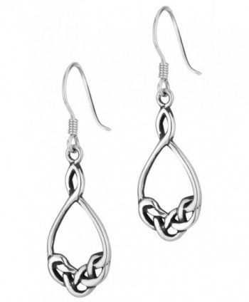 .925 Sterling Silver Celtic Knot Design Hoop Dangle Earrings - CT11LWMNKQN