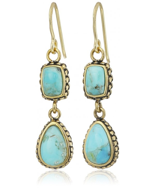Barse Bronze and Turquoise Multi-Shape Drop Earrings - CL123JT02KN
