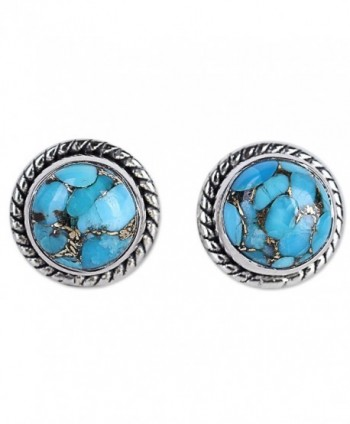 NOVICA Blue Reconstituted Turquoise .925 Sterling Silver Stud Button Earrings 'Cool Aqua Radiance' - CL12I3KFGIV