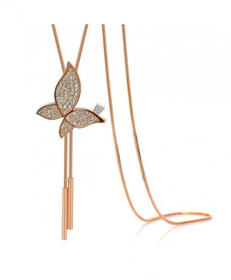 Kemstone Rose Gold/Gold Crystal Accented Adjustable Animal Y Necklace Jewelry - rose gold butterfly - CR187CT4Y4Z