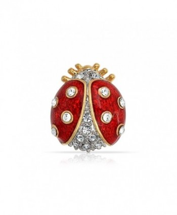 Bling Jewelry Gold Plated Red Enamel Crystal Insect Ladybug Brooch Pin - CB118L0HK9H