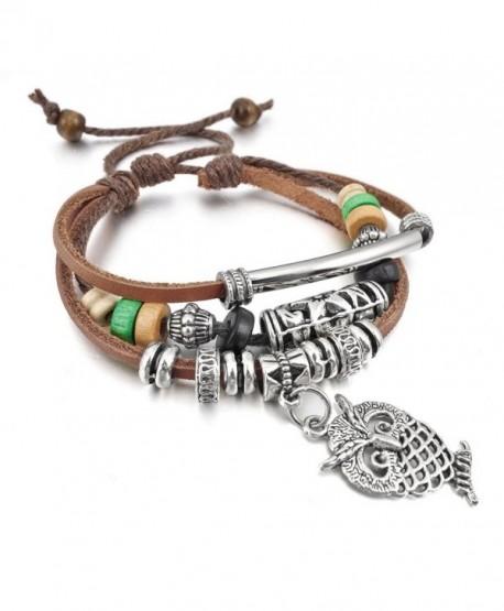 INBLUE Women's Alloy Genuine Leather Bracelet Bangle Rope Brown Owl Surfer Wrap Tribal Adjustable - CI11GYMNV15