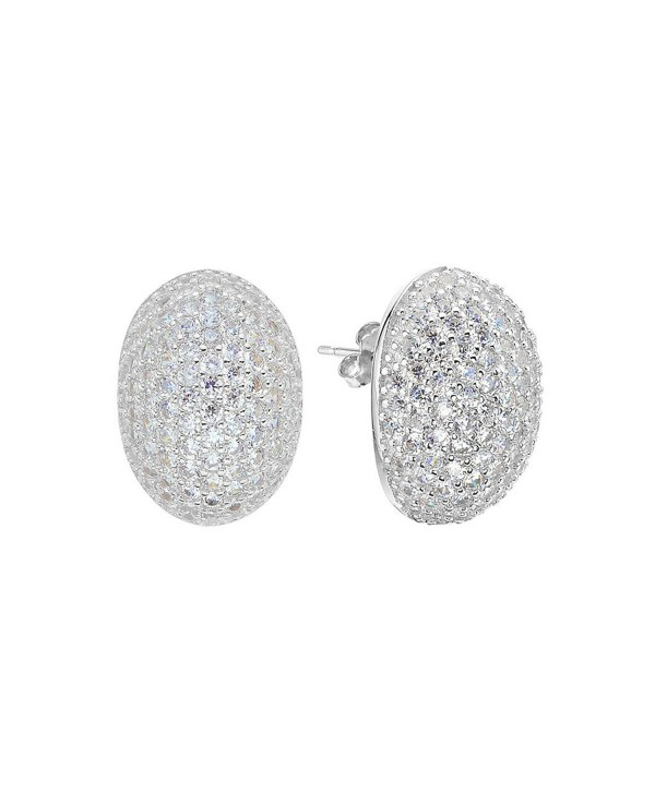 EVER FAITH 925 Sterling Silver Pave Cubic Zirconia Fashion Oval Shape Stud Earrings - 925 Sterling Silver Clear - CD120TLWMJ3