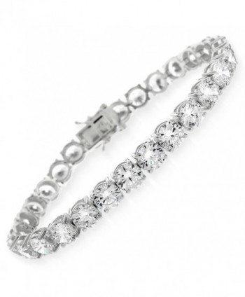 "Sterling Silver 6mm Brilliant-Cut Clear Round CZ White Tennis Bracelet 6.5""- 7""- 8"" - CZ186TM8SCR"