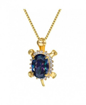 Turtle Pendant Necklace 18K Gold Plated & Cubic Zirconia Lovely Animal Jewelry - CW186QSNGII