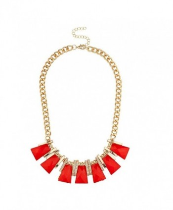 Lux Accessories Red Square Stone Statement Necklace - CU12GHES6DH
