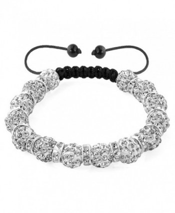 LilyJewelry Shamballa Bracelet Adjustable with 10mm Discoball Beads - White - CE18347EUSX