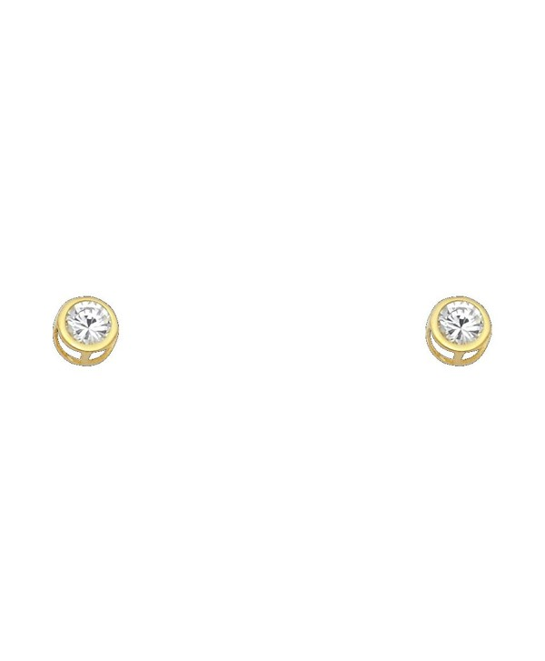 14k Yellow Gold 5mm Round Bezel Set Stud Earrings with Screw Back - 12 Different Color Available - Apr - CU1298U6WW9
