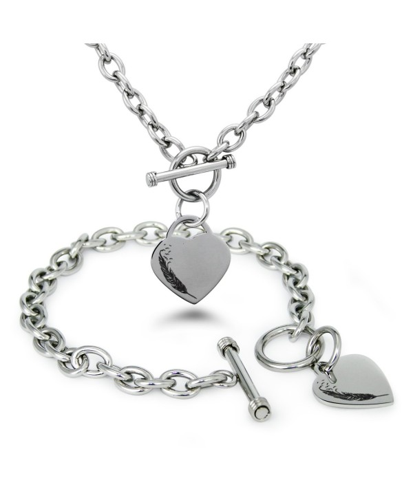Stainless Steel Feather Birds Heart Charm Bracelet and Necklace - C212N43U10W