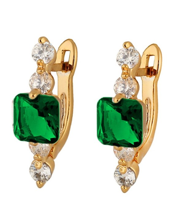 YAZILIND Women Vogue 18K Gold Plated Cubic Zirconia CZ Square Crystal Stud Earrings For Women Girls - Green - C312KUTZVH9