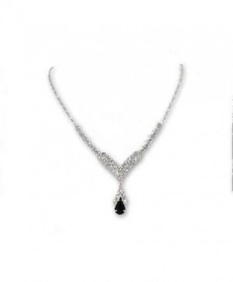 Black and Rhinestone V drop Necklace - C31190RD1N9