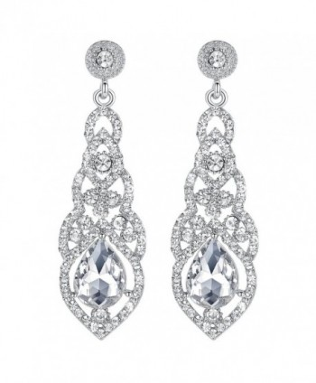 mecresh Crystal Teardrop Earrings Bridemaid - A-Clear - CI12MAJ9FG6