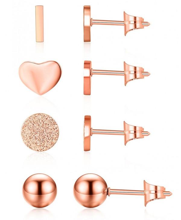 Ruarua Rose Gold Stud Earrings for Women Stainless Steel Heart Mini Bar Earring Line Ear Studs Stick - Rose Gold - CD180Q4HZD3