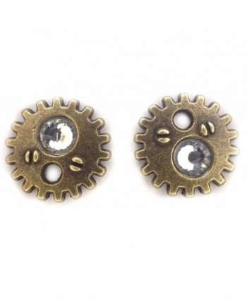 Bronze Gear earrings with Clear crystal steampunk gearrings stud post earrings - CY11WWLTXD7
