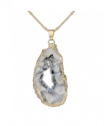 Bonnie Irregular Slice Geode Crystal Pendant Necklace Cut Amethyst Natural Stone Jewelry - CX12N43ZA9V
