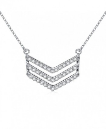 "Western Style Jewelry 925 Sterling Silver Three Rows V Shaped Pendant Necklace for Women-18"" - C7185M23WL4"