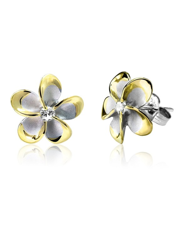 Sterling Silver with 14k Gold Plated Trim CZ Plumeria Stud Earrings- 12mm - CT1175T8ABV