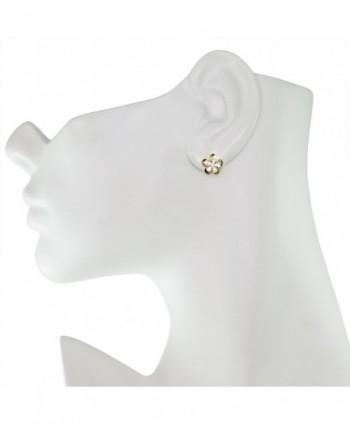 Sterling Silver Plated Plumeria Earrings in Women's Stud Earrings