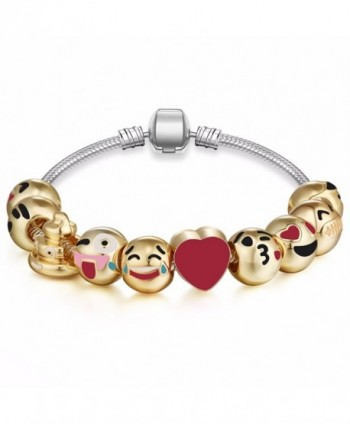 Expression Jewelry Emoticon Slide Bracelets - 1 - 18k Plated Classic Emoticon Smiley Faces - C212MY8GLR9