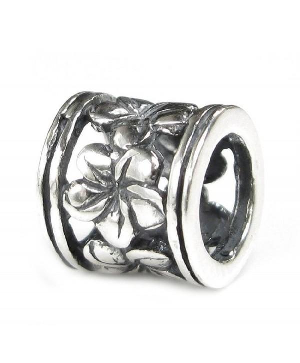 Sterling Silver Frangipanni Hawaiian Flower Pandora Style European Bead Charm - C2114CNBO85