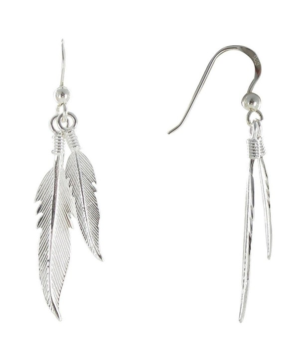 Les Poulettes Jewels - Earrings Two Feathers Sterling Silver - CX11FW28MUN