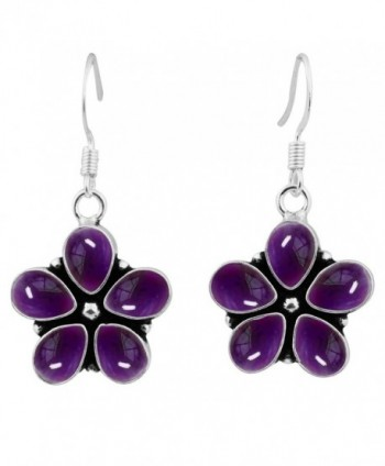 7.50ctw Genuine & Created Gemstone & 925 Silver Plated Dangle Earrings Made By Sterling Silver Jewelry - Amethyst - C9186DRLI63