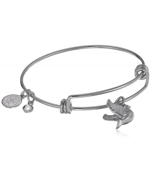 "Halos & Glories- ""Dove"" Charm Bangle Bracelet - Shiny Silver - CV185O5NTQS"