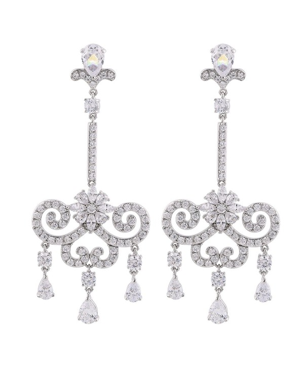 GULICX CZ Austrian Crystal Romantic Tear Drop Chandelier Bridal Earrings Silver Tone Clear - CF12FTLIFY9