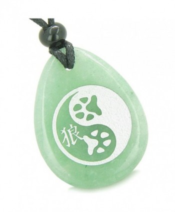 Amulet Wolf Paw Yin Yang Magic Kanji Good Luck Green Quartz Pendant Necklace - CH11BCRJPA7
