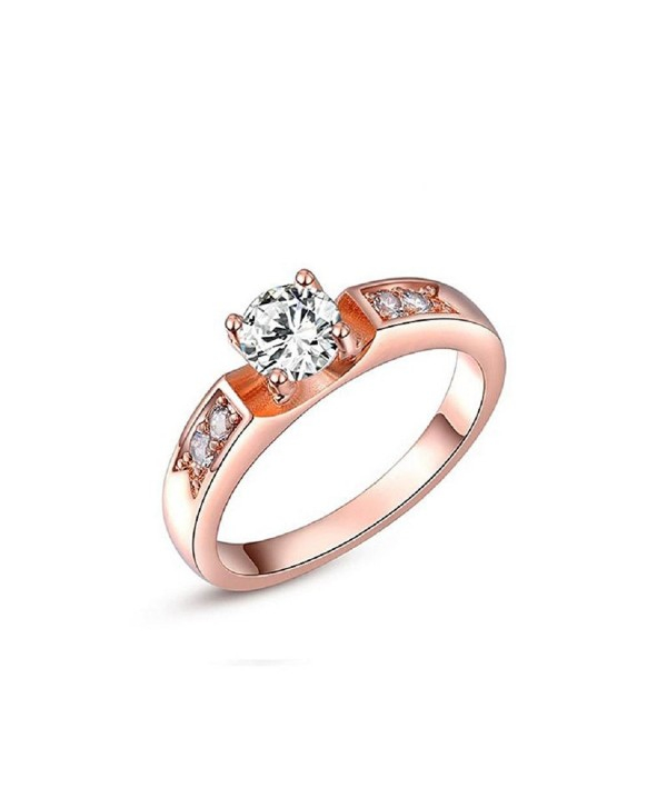Mikiss Rose Gold Plated Crystal Round Fashion Ring Best Gift - CW11QKYMEJR