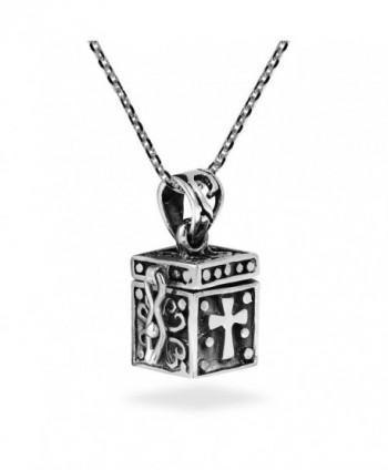 Christian Prayer Box Locket .925 Sterling Silver Necklace - CV12O3XFA7A