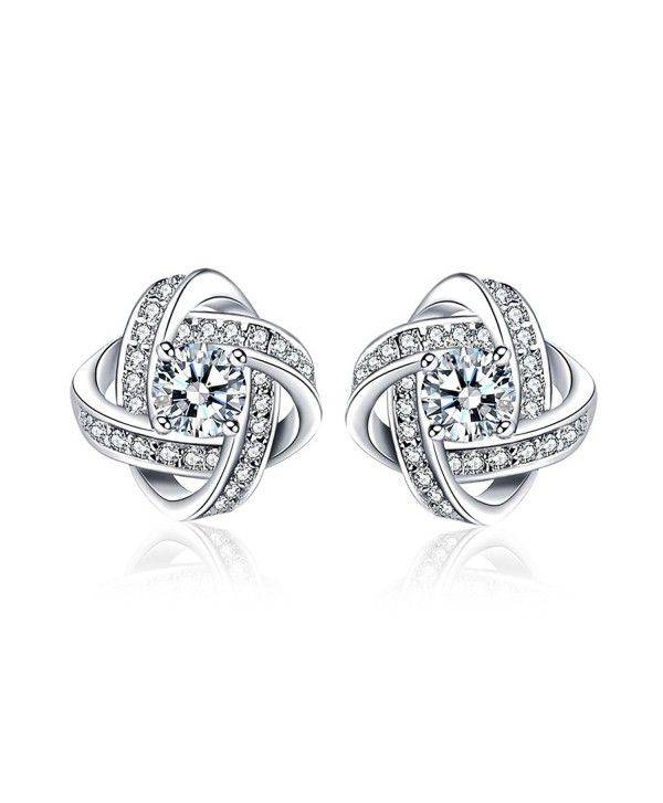 Womens Stud Earrings-LuckySuen 925 Sterling Silver Cubic Zirconia Earrings Gift for Wife Mom and Girlfriend - C31883S8XKG