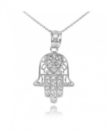 Fine 925 Sterling Silver CZ-Accented Heart Filigree-Style Hamsa Pendant Necklace - C011PTLU3VN