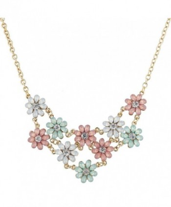 Lux Accessories Gold Tone Opal Crystal Rhinestone Flower Statement Necklace - CD183WX3CXK