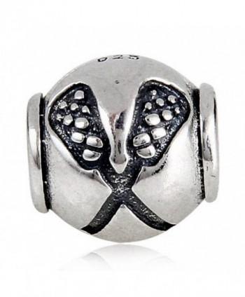 Lacrosse Sport Charms Sports Bead European DIY Jewelry Findings - C112NT4FWL6