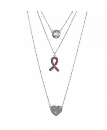 Lux Accessories Silvertone Crystal Pink Breast Cancer Awareness Layered Necklace - CR1878RXANK