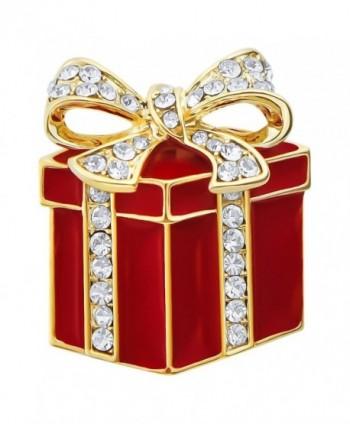 Christmas Jewelry Cute Enamel Santa Claus Vintage Holiday Gifts Art Deco Xmas Brooches and Pins - Gift Box - CI188UGKH9O