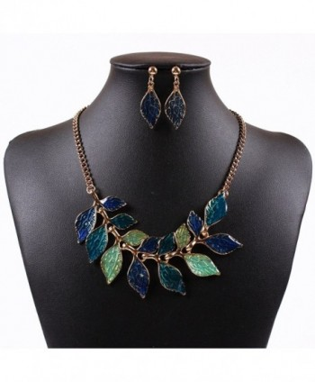 Leaves Jewelry set Golden Oil Drop Twisted Handmade Vintage Earrings Necklace - Blue - CV11MO5PSXP